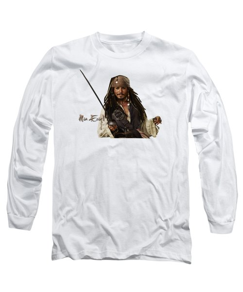 Johnny Depp, Pirates Of The Caribbean Long Sleeve T-Shirt by Maria Astedt