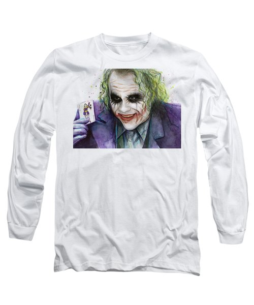 Joker Watercolor Portrait Long Sleeve T-Shirt by Olga Shvartsur