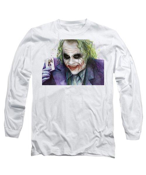Joker Watercolor Portrait Long Sleeve T-Shirt