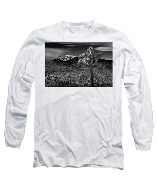 Long Sleeve T-Shirt featuring the photograph Joshua Tree In Black And White In Joshua Park National Park With The Little San Bernardino Mountains by Randall Nyhof