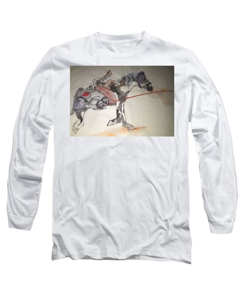 Jousting And Falcony Album  Long Sleeve T-Shirt by Debbi Saccomanno Chan