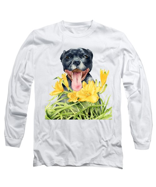 Joy - Pit Bull Dog And Daylily Watercolor Painting Long Sleeve T-Shirt
