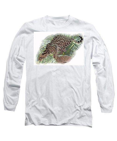 Pouncing Ocelot Long Sleeve T-Shirt