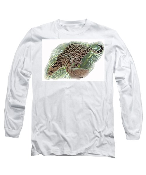 Pouncing Ocelot Long Sleeve T-Shirt