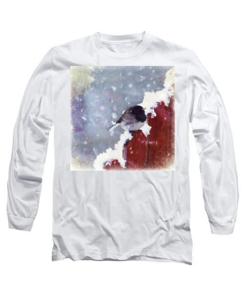 Long Sleeve T-Shirt featuring the digital art Junco In The Snow, Square by Christina Lihani