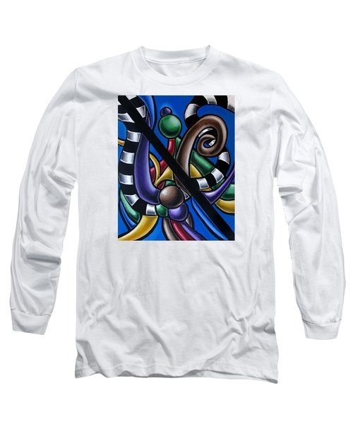 Jungle Stripes 2, Colorful Chromatic Abstract Artwork Long Sleeve T-Shirt