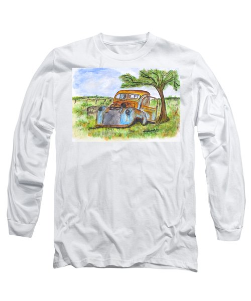 Junk Car And Tree Long Sleeve T-Shirt by Clyde J Kell