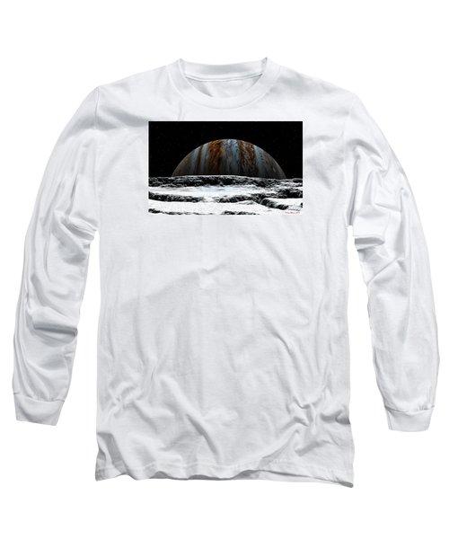 Long Sleeve T-Shirt featuring the digital art Jupiter Rise At Europa by David Robinson