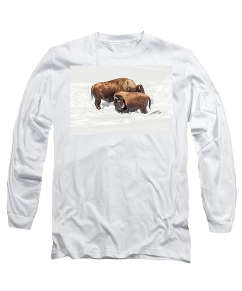 Long Sleeve T-Shirt featuring the photograph Juvenile Bison With Adult Bison by Sue Smith