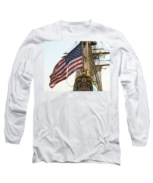 Kalmar Nyckel American Flag Long Sleeve T-Shirt by Alice Gipson