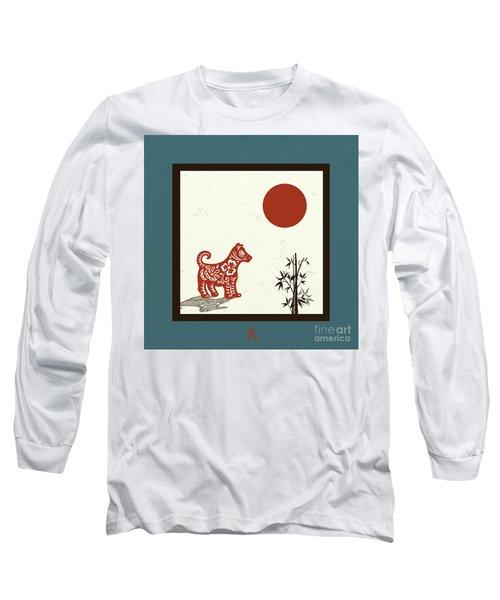Kanji Dog On Blue Long Sleeve T-Shirt