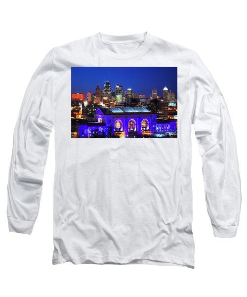 Kansas City Skyline At Night Long Sleeve T-Shirt by Matt Harang