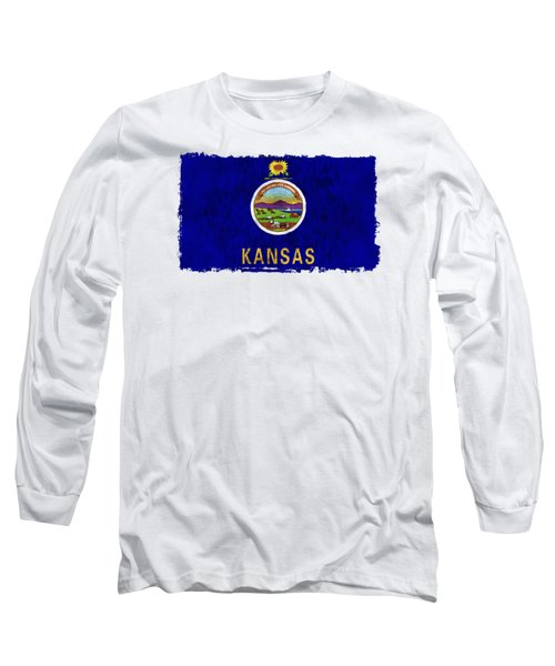 Kansas Flag Long Sleeve T-Shirt by World Art Prints And Designs