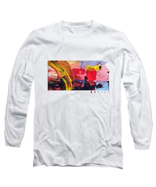 Kansas Map Art - Painted Map Of Kansas Long Sleeve T-Shirt