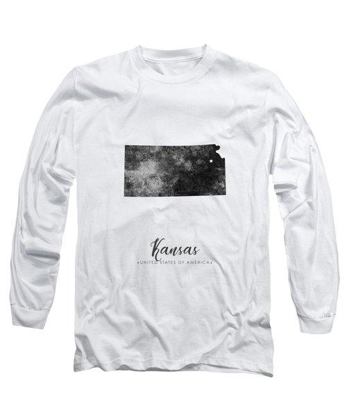 Kansas State Map Art - Grunge Silhouette Long Sleeve T-Shirt