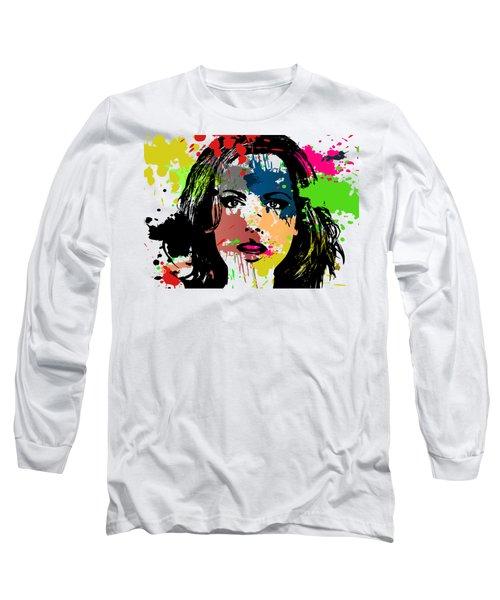 Kate Beckinsale Pop Art Long Sleeve T-Shirt