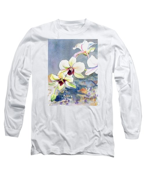 Long Sleeve T-Shirt featuring the painting Kauai Orchid Festival by Marionette Taboniar