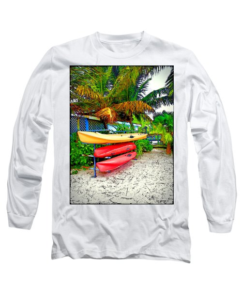Kayaks In Paradise Long Sleeve T-Shirt by Joan  Minchak