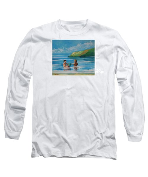 Kids Playing On The Beach Long Sleeve T-Shirt