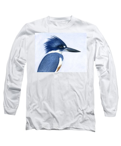 Kingfisher Portrait Long Sleeve T-Shirt by Charles Harden