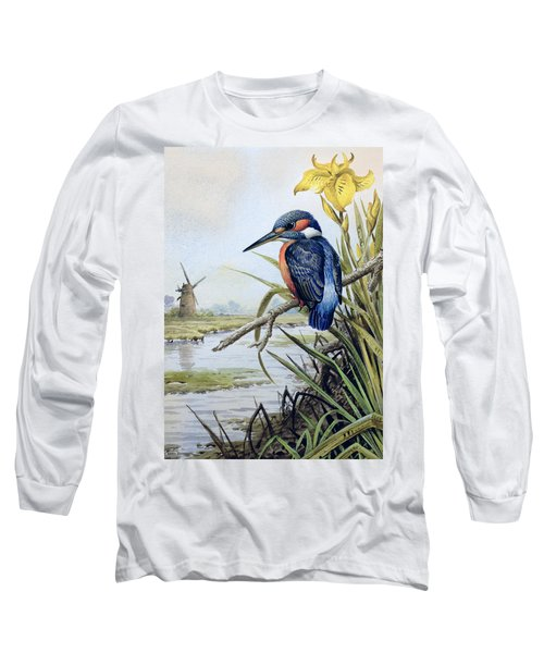 Kingfisher With Flag Iris And Windmill Long Sleeve T-Shirt by Carl Donner