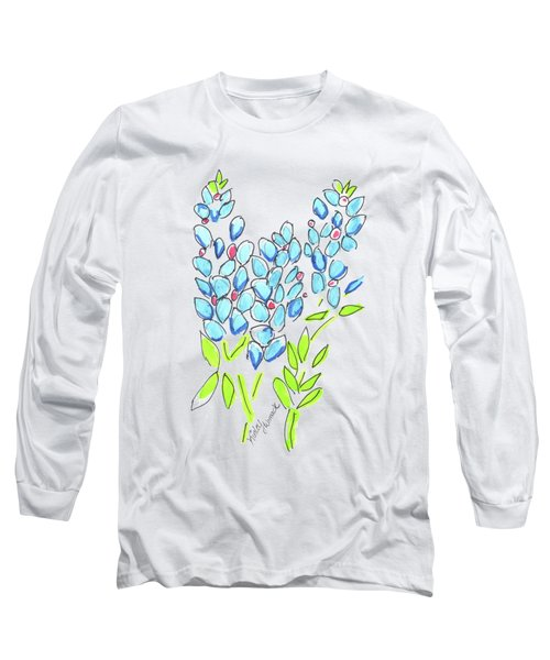 Kinley Bluebonnet And Horse Watercolor Long Sleeve T-Shirt