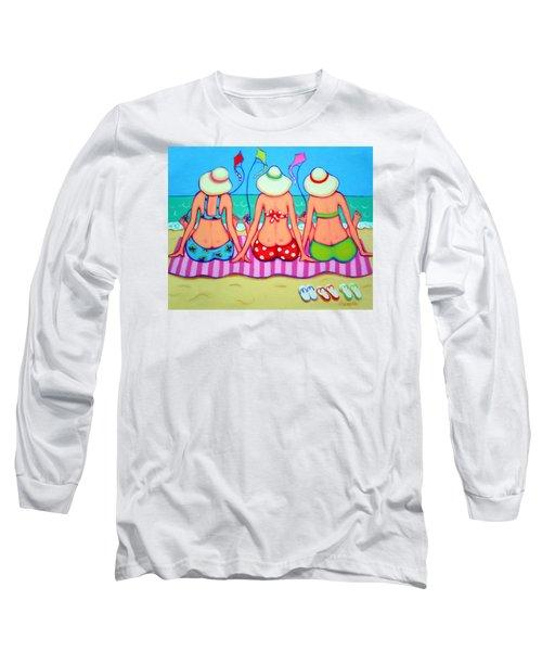 Kite Flying 101 - Girlfriends On Beach Long Sleeve T-Shirt by Rebecca Korpita