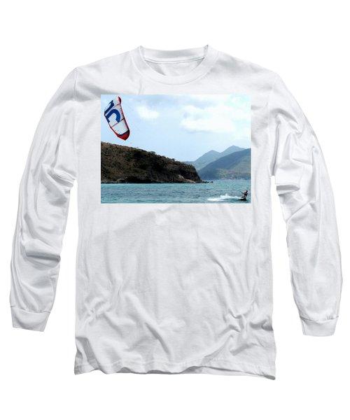 Kite Surfer St Kitts Long Sleeve T-Shirt by Ian  MacDonald