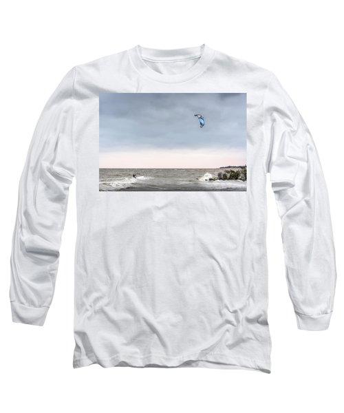 Kite Surfing On The Chesapeake Bay Long Sleeve T-Shirt