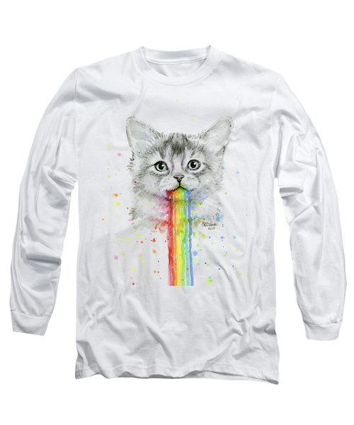 Kitten Puking Rainbows Long Sleeve T-Shirt