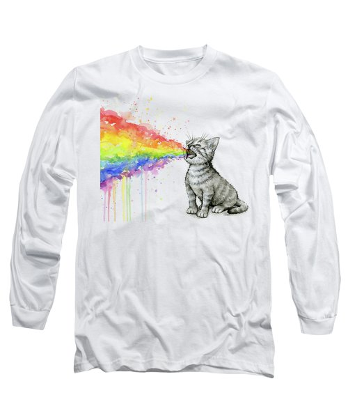 Kitten Tastes The Rainbow Long Sleeve T-Shirt
