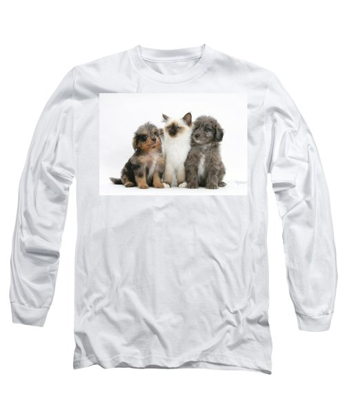 Kitten With Puppies Long Sleeve T-Shirt