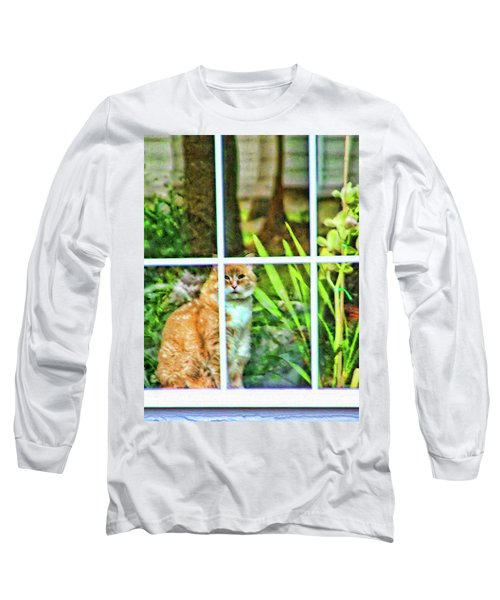 Long Sleeve T-Shirt featuring the photograph Kitty Reflections by Wendy McKennon