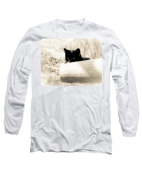 Kitty Stalks In Sepia Long Sleeve T-Shirt