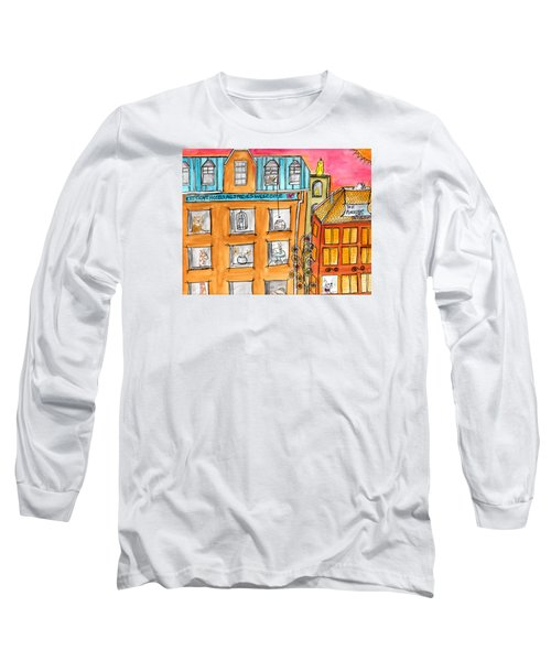 Long Sleeve T-Shirt featuring the painting Kittyscape Hotel by Lou Belcher