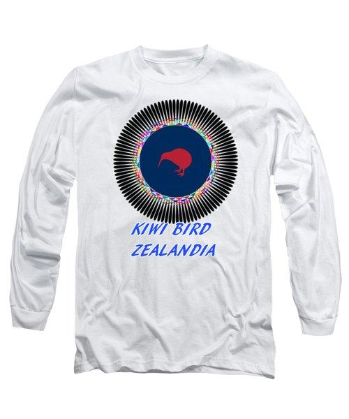 Kiwi Bird Zealandia Mandala Long Sleeve T-Shirt by Peter Gumaer Ogden