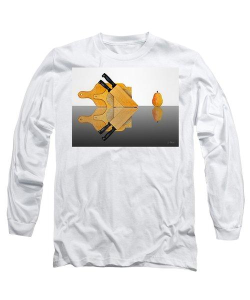 Knife Block, Cutting Boards And Pear Long Sleeve T-Shirt by Joe Bonita