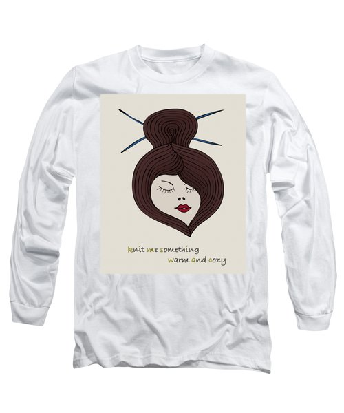 Long Sleeve T-Shirt featuring the drawing Knitty Girl by Frank Tschakert