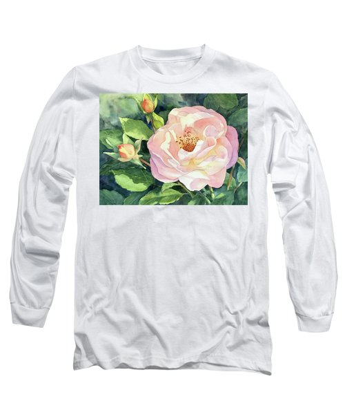 Long Sleeve T-Shirt featuring the painting Knockout Rose And Buds by Vikki Bouffard