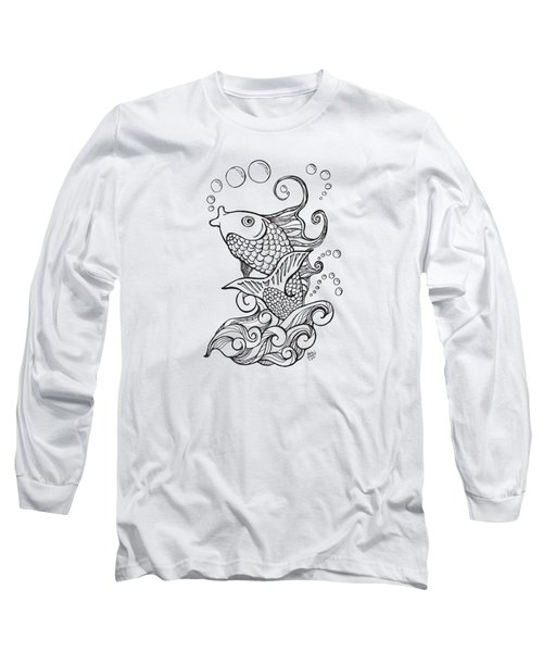 Koi Fish And Water Waves Long Sleeve T-Shirt by Laura Ostrowski