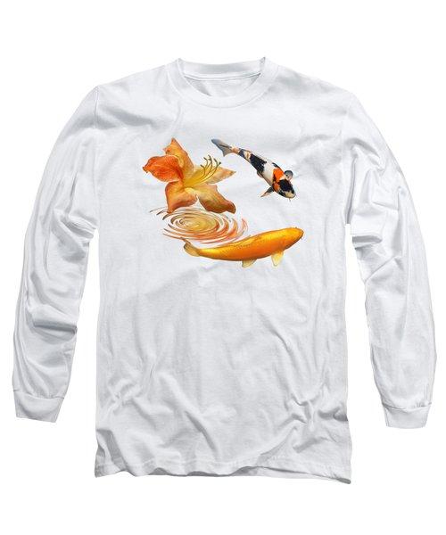 Koi With Azalea Ripples Long Sleeve T-Shirt by Gill Billington