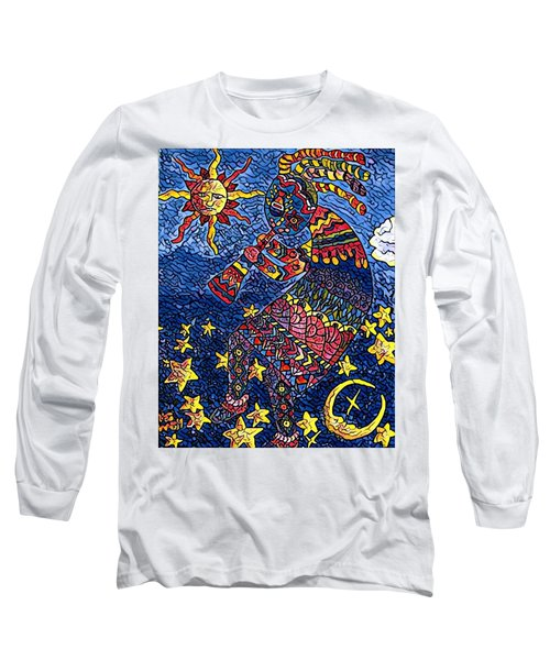 Kokopelli Mosaic Long Sleeve T-Shirt by Megan Walsh