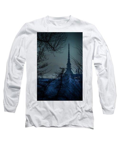 La Mole Antonelliana-blu Long Sleeve T-Shirt by Sonny Marcyan