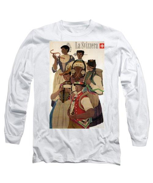 La Svizzera, Switzerland Travelling Poster - Retro Travel Poster - Vintage Poster Long Sleeve T-Shirt
