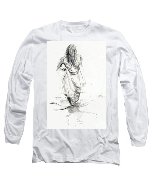Long Sleeve T-Shirt featuring the drawing Lady In The Waters by Kerryn Madsen-Pietsch