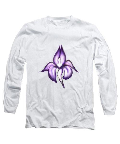 Lady Iris Long Sleeve T-Shirt by Awen Fine Art Prints