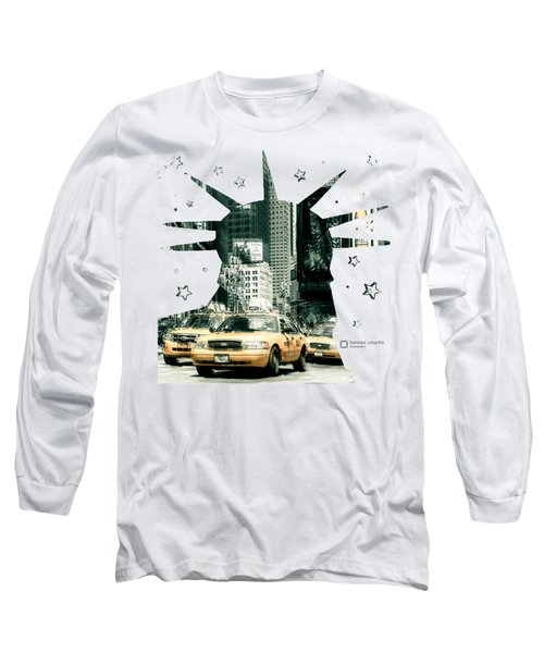 Lady Liberty And The Yellow Cabs Long Sleeve T-Shirt by Hannes Cmarits
