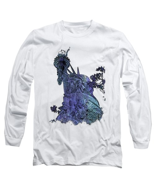 Lady Liberty Berry Blues 3 Dimensional Long Sleeve T-Shirt
