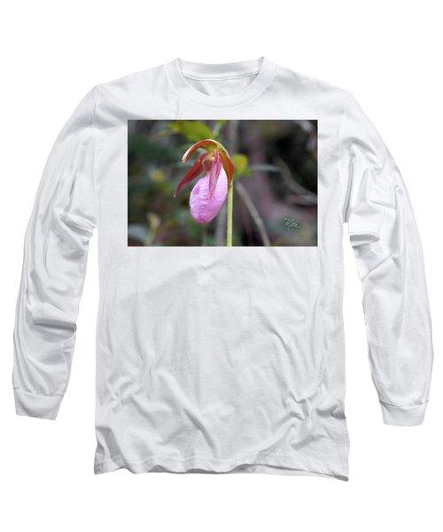 Lady Slipper Orchid Long Sleeve T-Shirt by Meta Gatschenberger