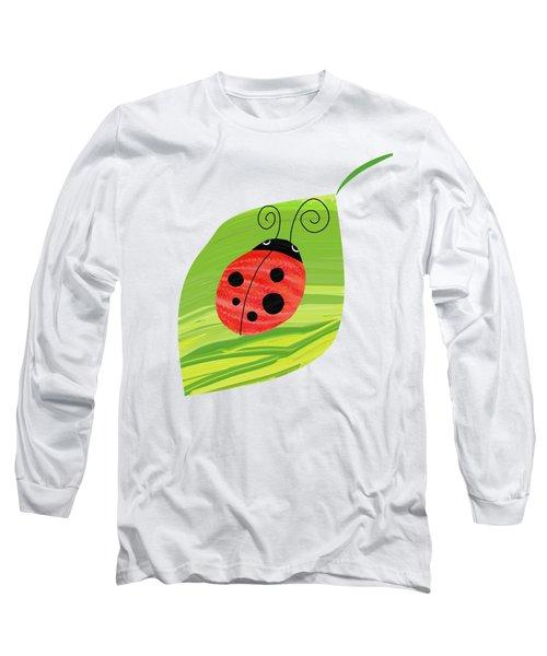 Ladybug On Leaf Long Sleeve T-Shirt